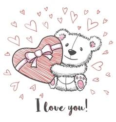 Love card with hand drawn cute bear vector