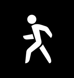 Man walking silhouette White isolated on a black vector image