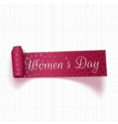 March 8 womens day realistic pink greeting ribbon vector