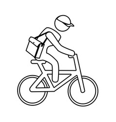 monochrome contour with messenger in bike vector image