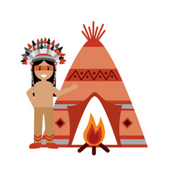 Native american indian man with teepee and bonfire vector