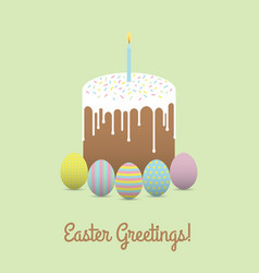 painted eggs with easter cake easter greetings vector image vector image