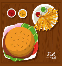 Poster fast food in kitchen table background with vector