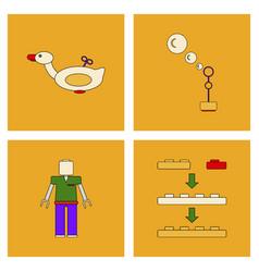 Set of children toys in different sets in flet on vector