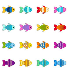 set of cute fishes vector image