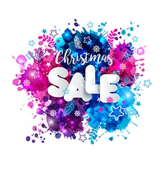 Signs christmas sale in paper style on multicolor vector