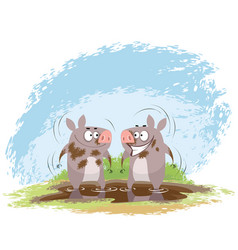 Two boars in mud vector