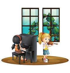 Two girl playing music in room vector