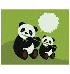 two pandas vector image