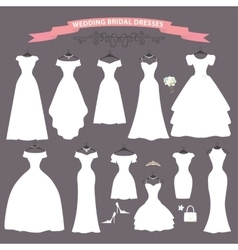 Wedding dress setFlat designBridal shower vector image