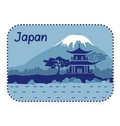 With pagoda and mount fuji in japan vector