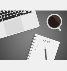 worktable top view with laptop coffee vector image