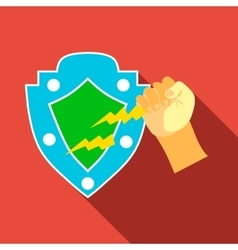 Arm and protective shield icon flat style vector