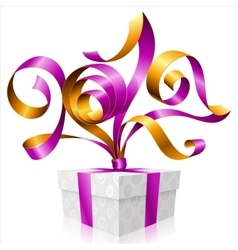 purple ribbon and gift box Symbol of New Year 2017 vector image