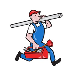 Plumber with pipe toolbox cartoon vector