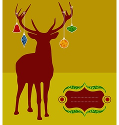 Christmas reindeer greeting card vector image