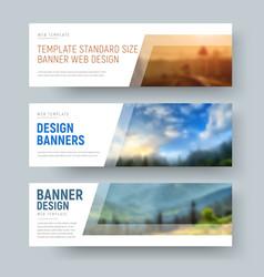 Design of standard white horizontal web banners vector