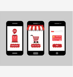 Online shopping shop icon set on smartphone vector