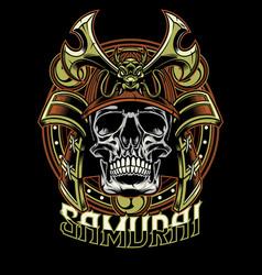 skull of samurai warrior vector image