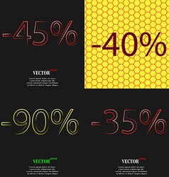 40 90 35 icon set of percent discount on abstract vector