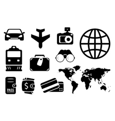 Set black objects for business traveling vector