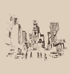 Times Square street in New York city engraving ve vector image