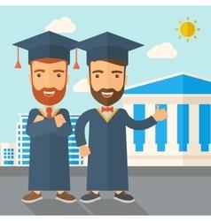 Two men wearing graduation cap vector image