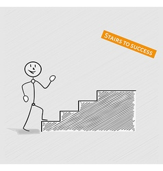 Man and stairs to success vector