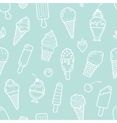 Cute mint seamless pattern with ice creams vector