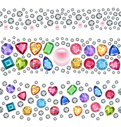 Seamless scattered gems vector