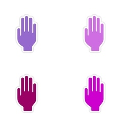Assembly realistic sticker design on paper hand vector