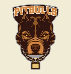 Pitbull head macot vector