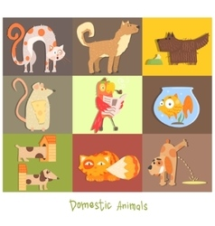 Pets cats dogs and their actions emotions vector
