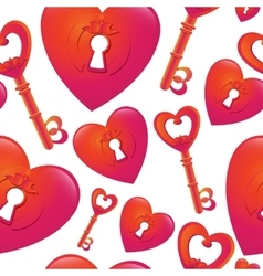 Pattern with key and heart keyhole vector