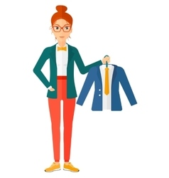 Woman holding jacket vector