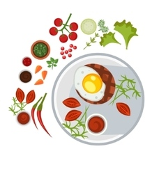 Grilled steak with an egg on plate vector