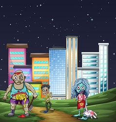 Three zombies walking in the park at night vector