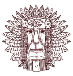 tattoo with indian face vector image
