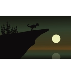 Allosaurus in cliff with moon vector