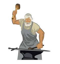 A blacksmith forges sword 01 vector