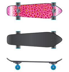 A pink coloured skateboard vector