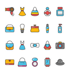 beauty and fashion colored icons set 5 vector image vector image