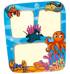 Border template with animals under the sea vector