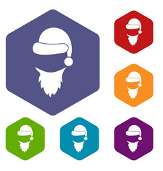 cap with pompon of santa claus and beard icons set vector image vector image