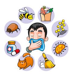 Cartoon colorful allergy set vector