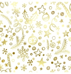 Christmas and new year golden seamless pattern vector