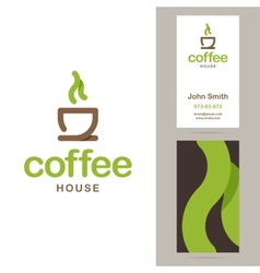 Coffee house logo and business card templates vector