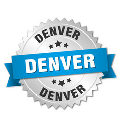 Denver round silver badge with blue ribbon vector
