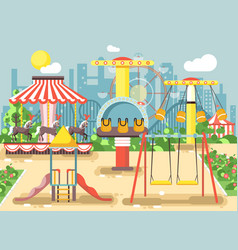 Empty amusement park vector