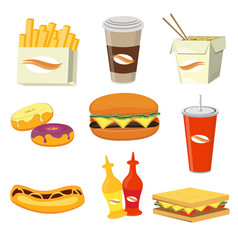Fast food meals and drinks flat icons vector